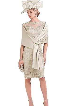 Kelaixiang Short Lace Mother Of Bride Dress Knee Length Formal Dress
