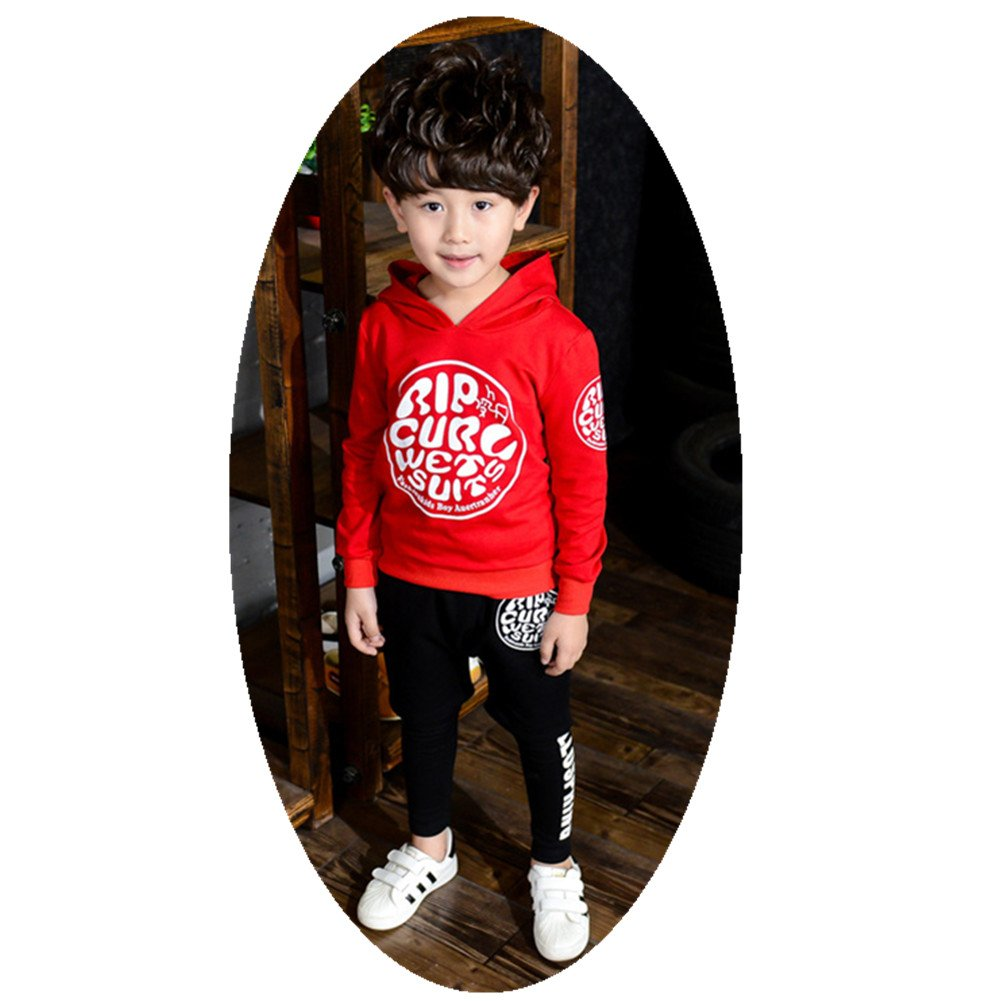 FTSUCQ Kids Pullover Sports Tracksuits Hoodie Sweatershirt Coat + Pants,Red 100