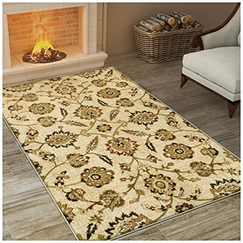 Superior Canterbury Collection Area Rug, Classic Floral Pattern, 10mm Pile Height with Jute Backing, Affordable Contemporary Rugs - 2' x 3' Rug by Superior