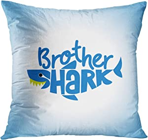 Qryipd Shark Throw Pillow Cover Square 16 X 16 Inch Brother Shark Doo Doo Doo Baby Big Fish Shark Animal Aqua Ballad Blue Cushion Home Decor Living Room Bedroom Office Polyester Pillowcase