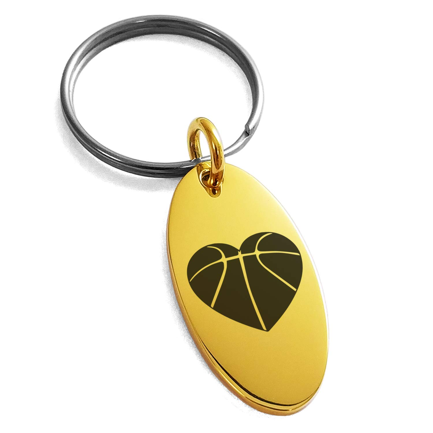 Tioneer Gold Plated Stainless Steel Love Basketball Heart Engraved Small Oval Charm Keychain Keyring