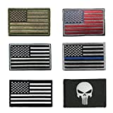 #5: HeeBin 6 Pieces Patch Set - Multi-colored USA Flag Velcro Patches ,Black Punisher Tactical Patch