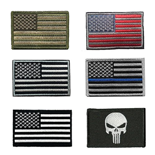 HeeBin 6 Pieces Patch Set - Multi-colored USA Flag Velcro Patches ,Black Punisher Tactical Patch
