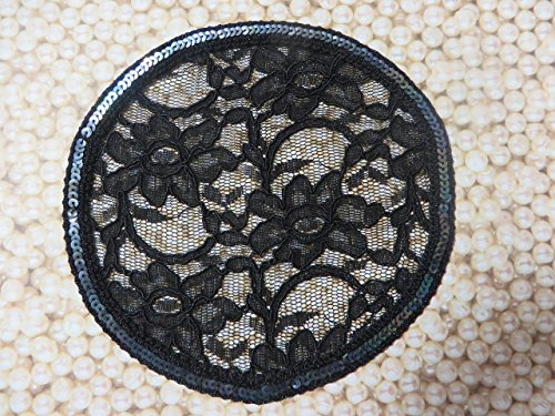 Handmade black lace doily head cover with black sequined trim (with decorative bobby pin) Elegant Doily Exclusive