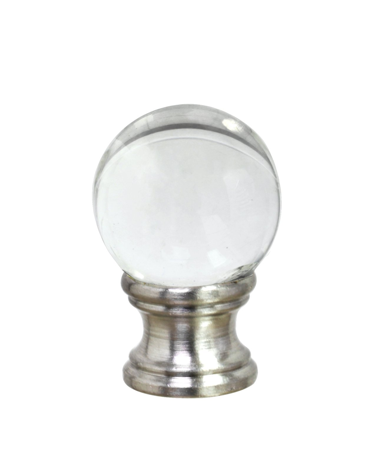 Aspen Creative 24014 Clear Glass Ball Lamp Finial in Nickel Finish, 1 1/2'' Tall (1 Pack)