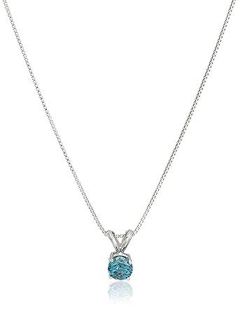 Amazon 14k white gold blue diamond solitaire chain pendant 14k white gold blue diamond solitaire chain pendant necklace 12cttw i2 clarity mozeypictures Images