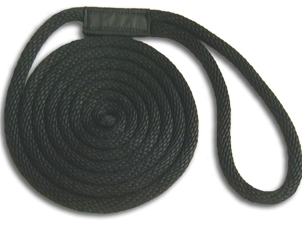 5/8'' x 10' Black Solid Braid Nylon Dock Line - Made in USA