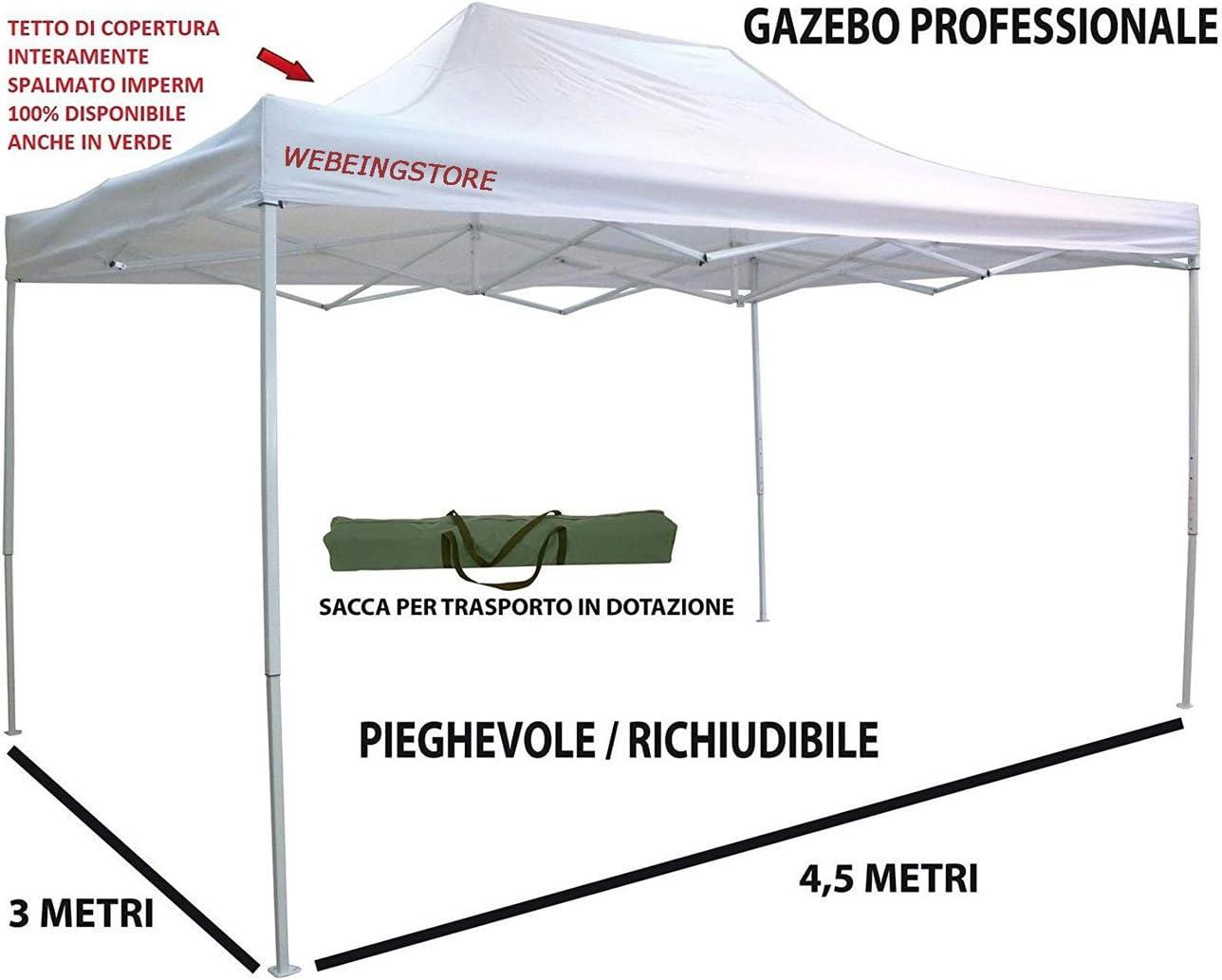 Cenador plegable impermeable de aluminio 3 x 4, 5 m para jardín, mercados, ferias, blanco Mod. Maiori.: Amazon.es: Jardín