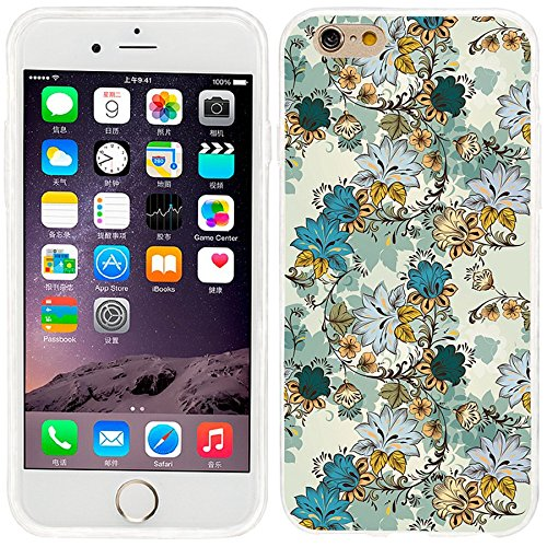 iPhone 6 Case, iphone 6 4.7 case,iphone6 case ,ChiChiC full Protective unique Stylish Case slim durable Soft TPU Cases Cover for iPhone 6 4.7 inch,Vintage hand drawn teal gold flowers on yellow background