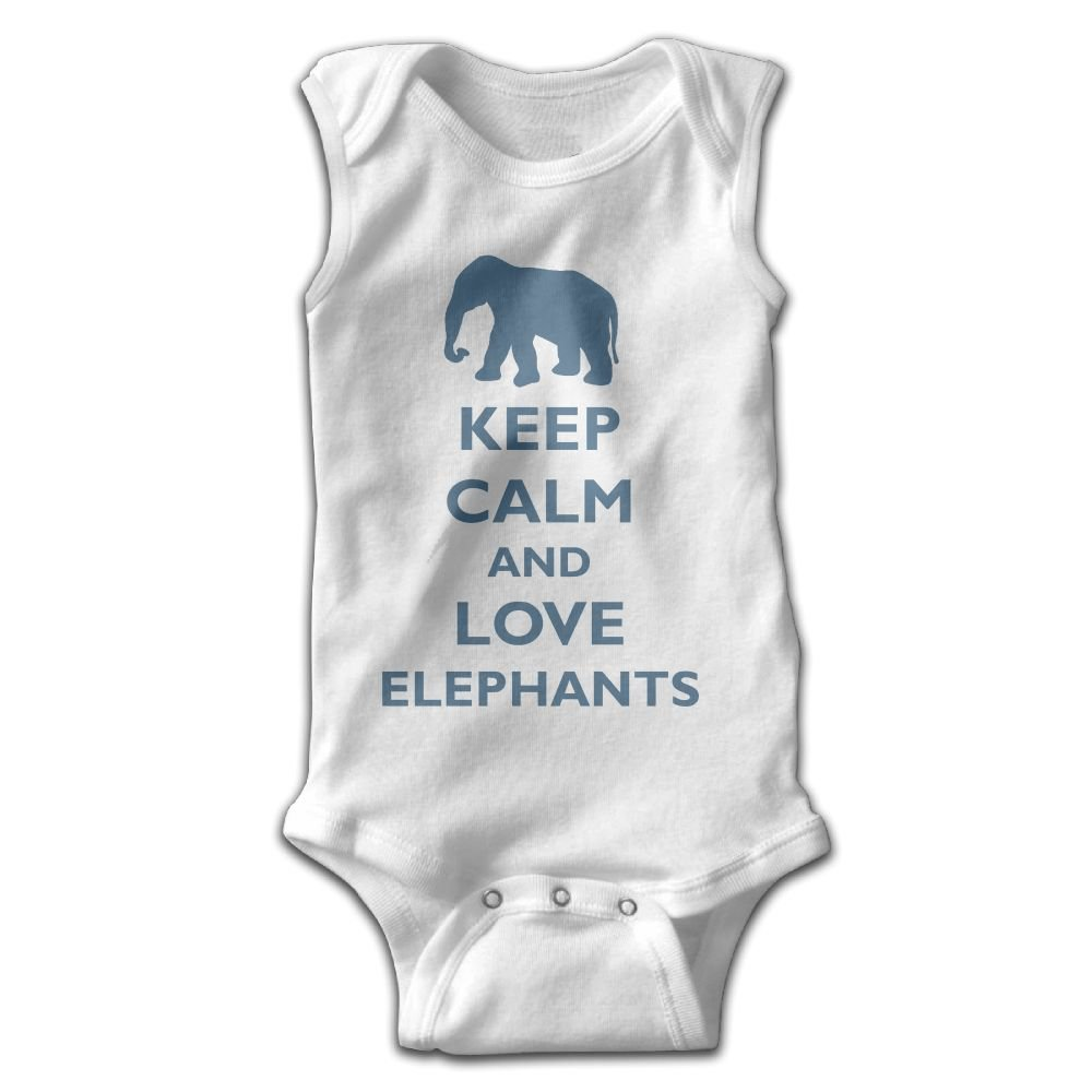 Infant Baby Girls Rompers Sleeveless Cotton Onesie Keep Calm and Love Elephants Print Jumpsuit Summer Pajamas Bodysuit