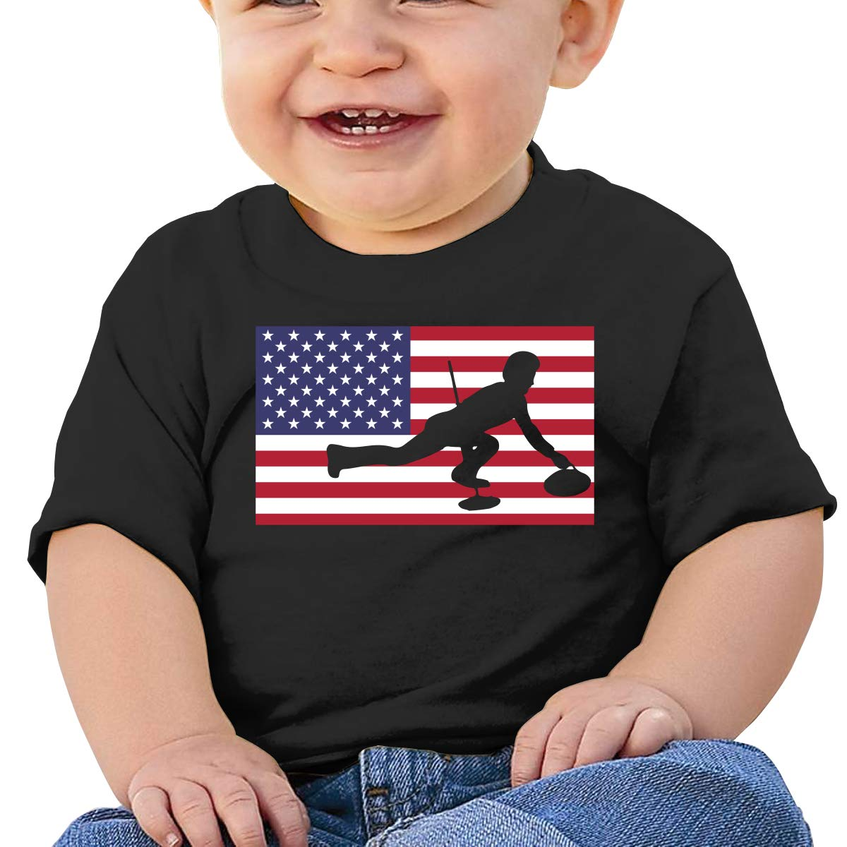 American Curling Baby Girl Newborn Short Sleeve T Shirts 6-24 Month Soft Tops