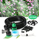 KingSo 32.8ft Misting Cooling System Water Mister Micro Flow Drip Irrigation Kit With 10pcs Mist Nozzle Sprinkler For Outdoor Patio Plant Flower Home Garden With Instruction 32.8ft plastic