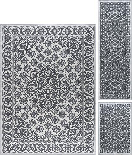 Ivory Turkish Rug (Francesca Traditional Oriental Ivory Non-Skid 3-Piece Area Rug Set, 3-Piece Set)