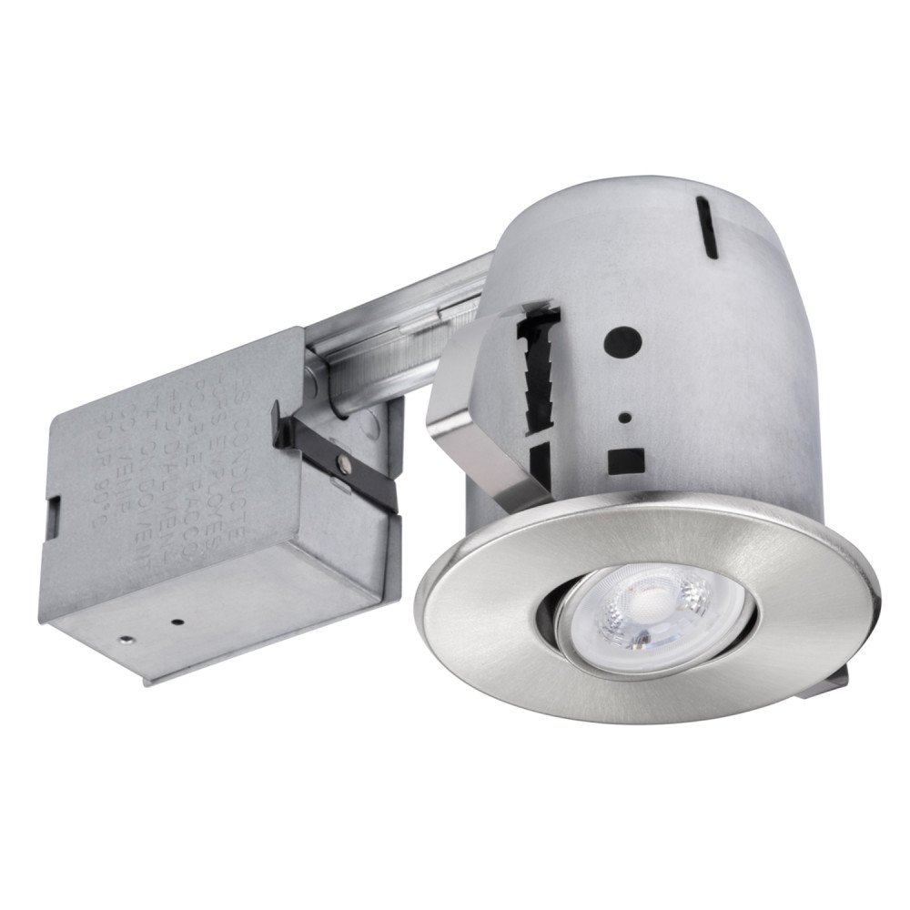 4'' LED IC Rated Swivel Spotlight Recessed Lighting Kit Dimmable Downlight, Round Trim, Brushed Nickel Finish, Easy Install Push-N-Click Clips, 1x GU10 LED Bulb Included, Globe Electric 90734