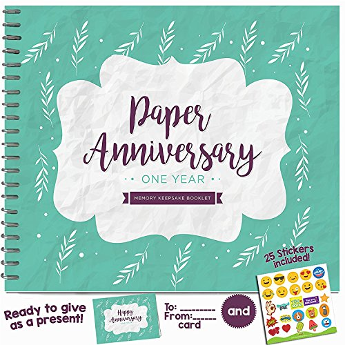 1ST ANNIVERSARY GIFTS FOR COUPLES BY YEAR - First Year Booklet with Matching Card for Wood Anniversary. 1 Anniversary Memory Journal - Unique One Year Wedding Gift for Husband or Wife!