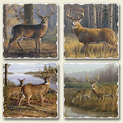 Legends Deer Doe Set of 4 Absorbent Stone Coasters - Made in ()