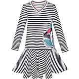 Sunny Fashion LD93 Girls Dress Stripe Long Sleeve Parrot School Jumper Size 8