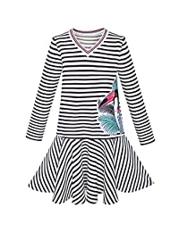 Sunny Fashion Girls Dress Stripe Long Sleeve Parrot School Jumper Size 6-12