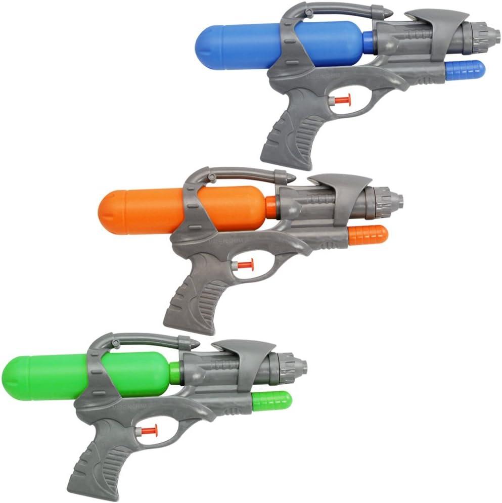 com-four® 3X Pistola de Agua de plástico, 25,5 cm, 120 ml [el Color varía] (03 Piezas - Pistola)