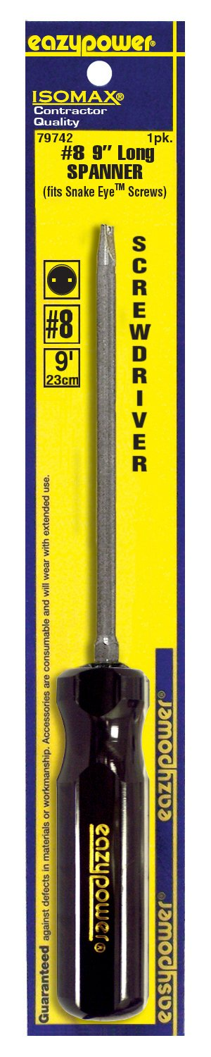 Eazypower 79742 1-Pack #8 Spanner Security Isomax 9-inch Screwdriver (fits Snake Eye Screw)