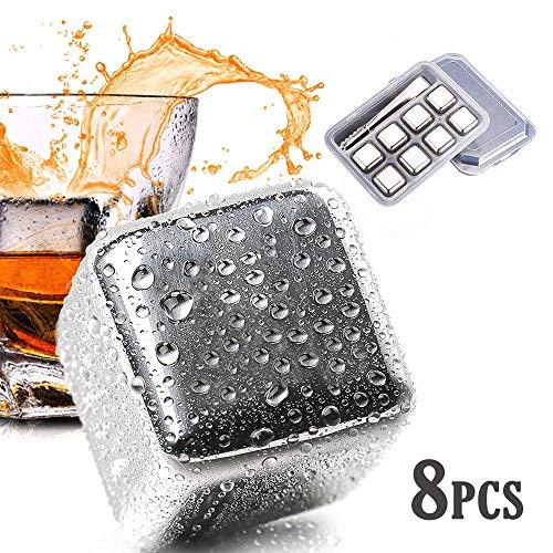 Vakania 8 Pcs Stainless Steel Reusable Ice Cubes, Metal Whiskey Stones, Whiskey...