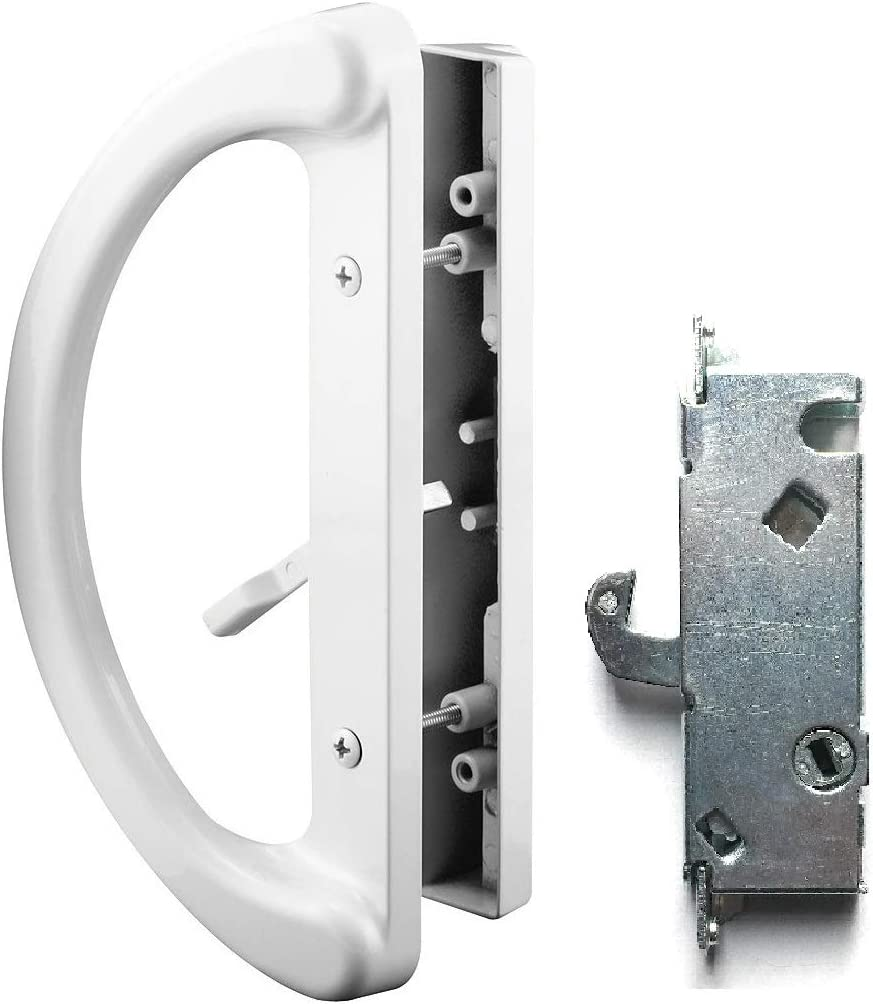 "Patio Door Handle Set + Mortise Lock 45°, Perfect Fitting 2 Handle White Replacement for Sliding Doors Using 3-15/16"" Hole Spacing & Mortise Style Latch Locks by Essential Values"