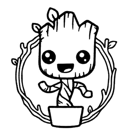 Amazon Com Basic Vinyl Baby Groot Vinyl Decal Wall Art 5 Inch
