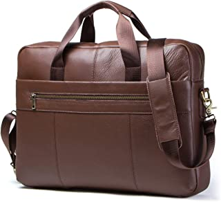 Contacts Mens Genuine Leather Crossbody 15.6' Laptop Ipad Bag Office Briefcase Handbag (Brown)