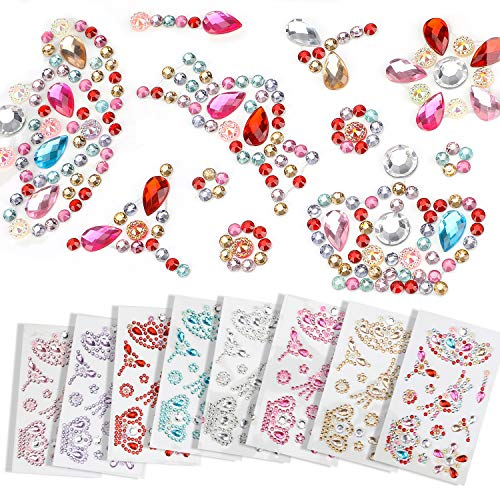Hifot Self-Adhesive Rhinestone Sticker 8 Sheets, Colorful Gems Self-Adhesive Craft Jewels Sticker Set for Children, Stick-on Crystal Gem Sheets for DIY Crafts Decoration (Style 1)