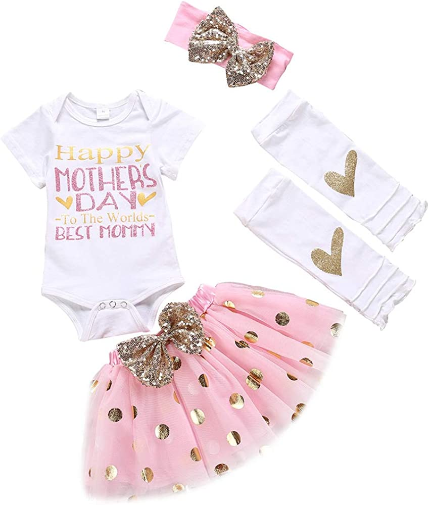 Newborn Infant Baby Girl My 1st Mothers Day Skirt Set Romper+Tutu Pink Dot Skirt+Headband+Legging Warmer 4Pcs