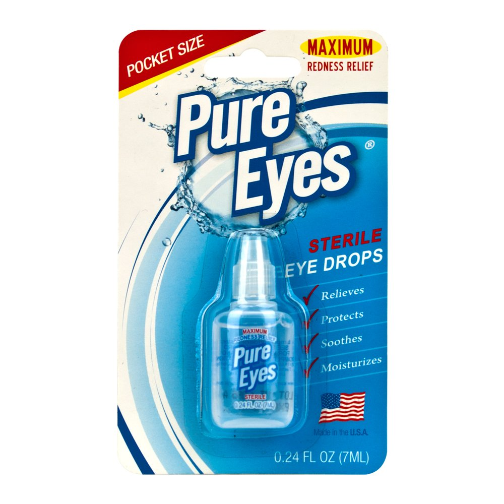 Pure Eyes Sterile Maximum Redness Relief Eye Drops Pocket and Travel Size 0.24 fl. oz. 7ml (Pack of 24) by PURE PLANT HOME (Image #3)