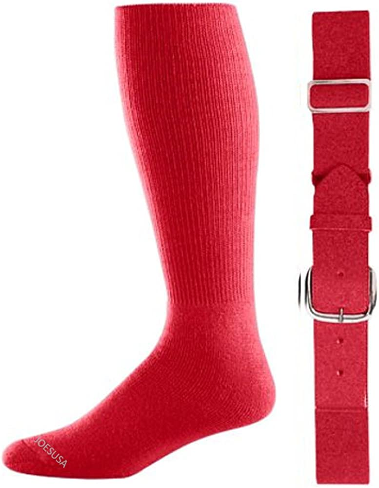 Joe's USA - Baseball Socks & Belt Combo Set (All Sizes & Colors Available)