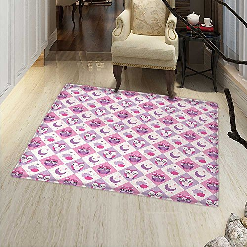 (Owls Rugs for Bedroom Sleeping Owls in Diamond Pattern Half-Moon Stars Clouds Night Time Goodnight Art Circle Rugs for Living Room 40