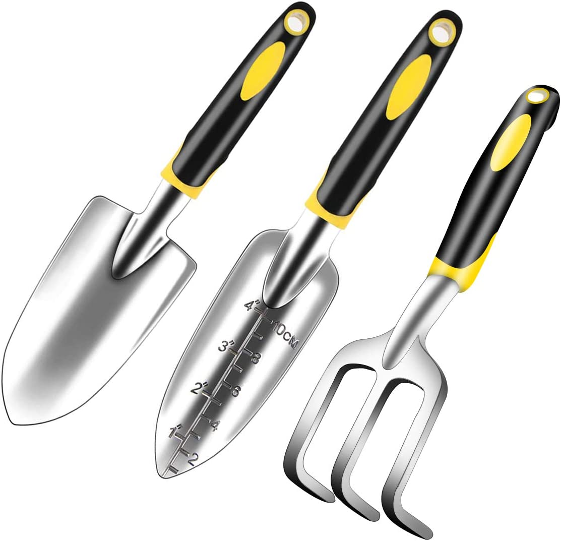 YXGOOD Garden Tool Set, 3 Piece Heavy Duty Garden Hand Shovels Cast-Aluminum Garden Trowels Hand Rake with Non Slip Rubber Grip