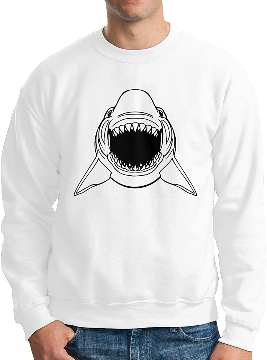 Scary Shark Fierce Men Crewneck Long Sleeve Pullover Round Collar Sweatshirt