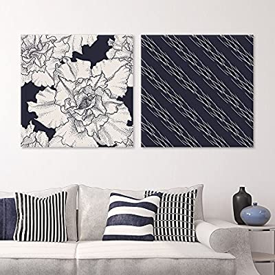 2 Panel Square Canvas Wall Art - Floral and Black Abstract Pattern Patterns - Giclee Print Gallery Wrap Modern Home Art Ready to Hang - 24