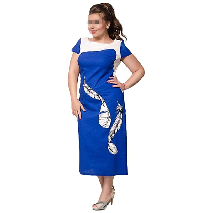 Hufong 2018 Women\'s Patchwork Plus Size Dress Large Size ...