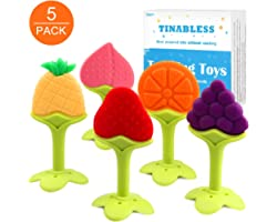 Teething Toys (5 Pack) - Tinabless Infant Teething Keys Set, BPA-Free, Natural Organic Freezer Safe for Infants and Toddlers,