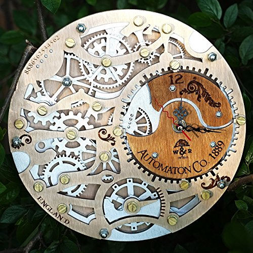 Automaton Silverberry wooden steampunk wall clock unique wall clock personalized gifts, anniversary gift, large wall clock modern wall clock