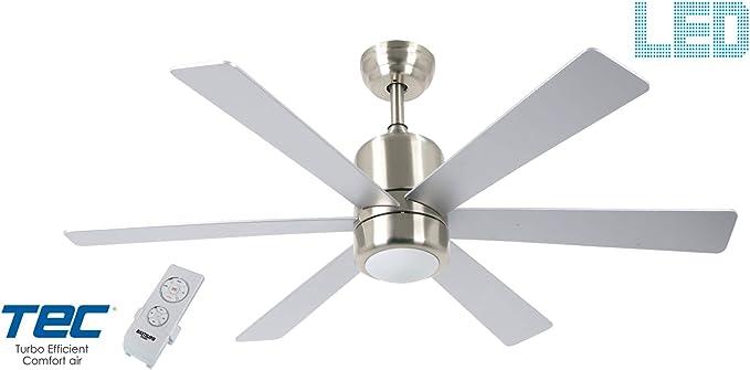 Bastilipo 7821-Mónaco Niquel Mónaco Ventilador de Techo LED con Mando a Distancia: Amazon.es: Iluminación