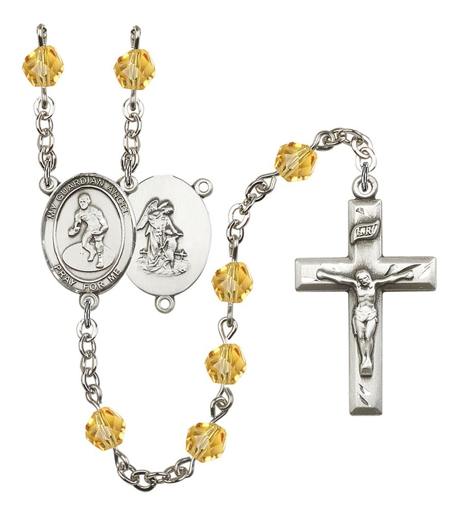 November Birth Month Prayer Bead Rosary with Guardian Angel Wrestling Centerpiece, 19 Inch by Birth Month Rosary