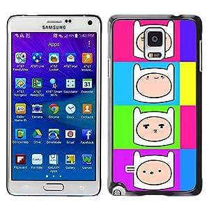 Caucho caso de Shell duro de la cubierta de accesorios de protección BY RAYDREAMMM - Samsung Galaxy Note 4 SM-N910F SM-N910K SM-N910C SM-N910W8 SM-N910U SM-N910 - Comic Cartoon Smiley Face Colorful Neon