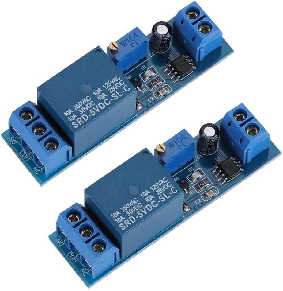 Lazmin 2 Unids 5 V Módulo de Relé de Tiempo, Módulo de Interruptor de Retardo del Temporizador de Ciclo Ajustable con Interruptor de Control del Temporizador 0-10 Segundo Retardo de Tiempo