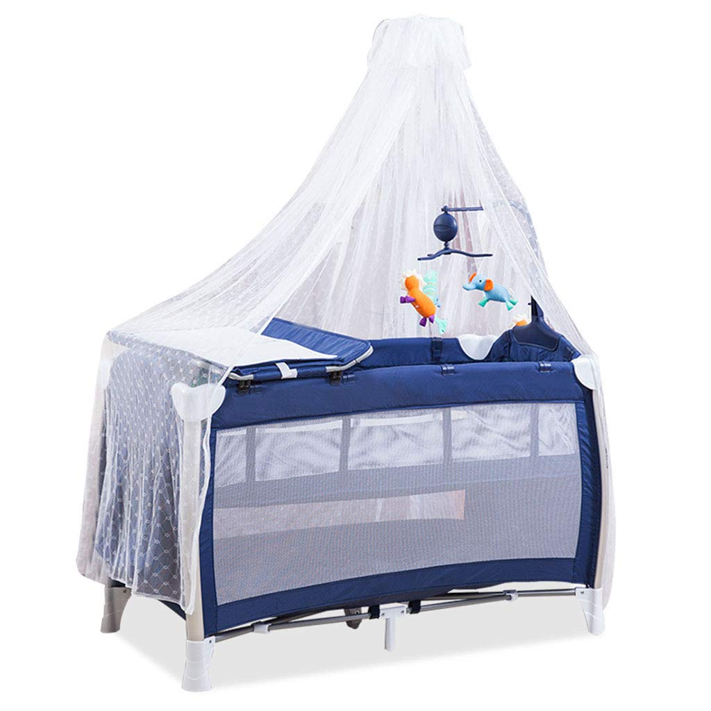 MUQING Crib Universal Mosquito Floor Standing High Hanging Court Game Bed Supporting Washable Multifunctional Crib