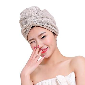 Mujeres Damas gorro de baño ducha microfibra toalla secador Epais absorbente sombrero de Spa piscina ligero dulce capucha de secado rápido con enganche para ...