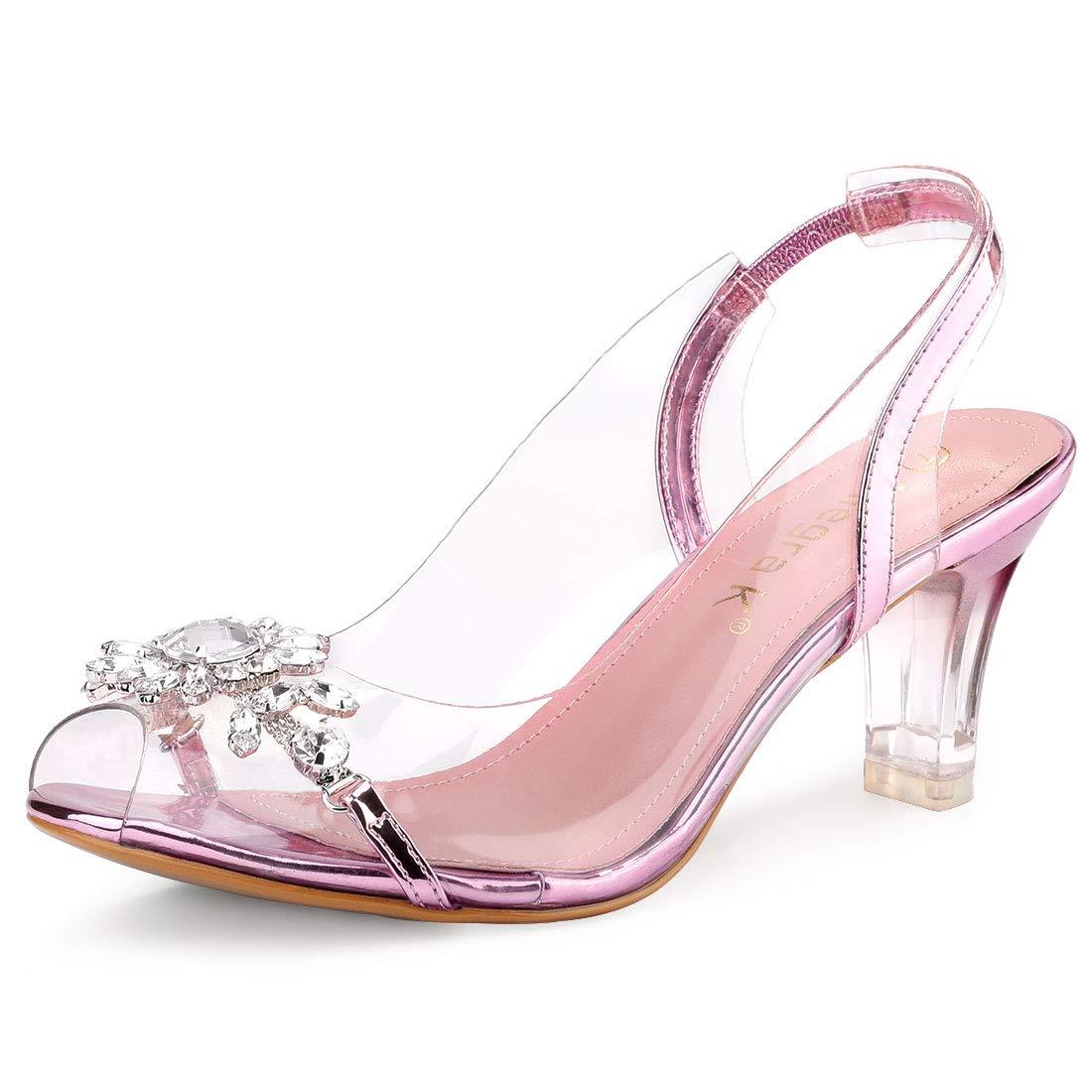 39350c6a036 Allegra K Women's Clear Slingback Flower Rhinestone Peep Toe Heels Sandals