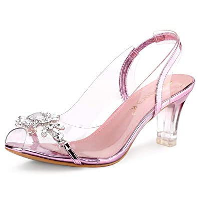 c53e6a8ee99 Allegra K Women s Clear Slingback Flower Rhinestone Peep Toe Heels Pink  Sandals - 5.5 ...