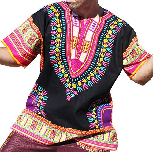 RaanPahMuang Brand Unisex Bright Black Cotton Africa Dashiki Shirt Plain Front