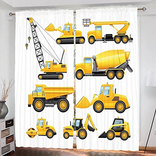 househome Boys Custom design Abstract Images of Construction Vehicles and Machinery Trucks Bulldozer Crane curtain Living Room Bedroom Window Drapes 2 Panel Set 108