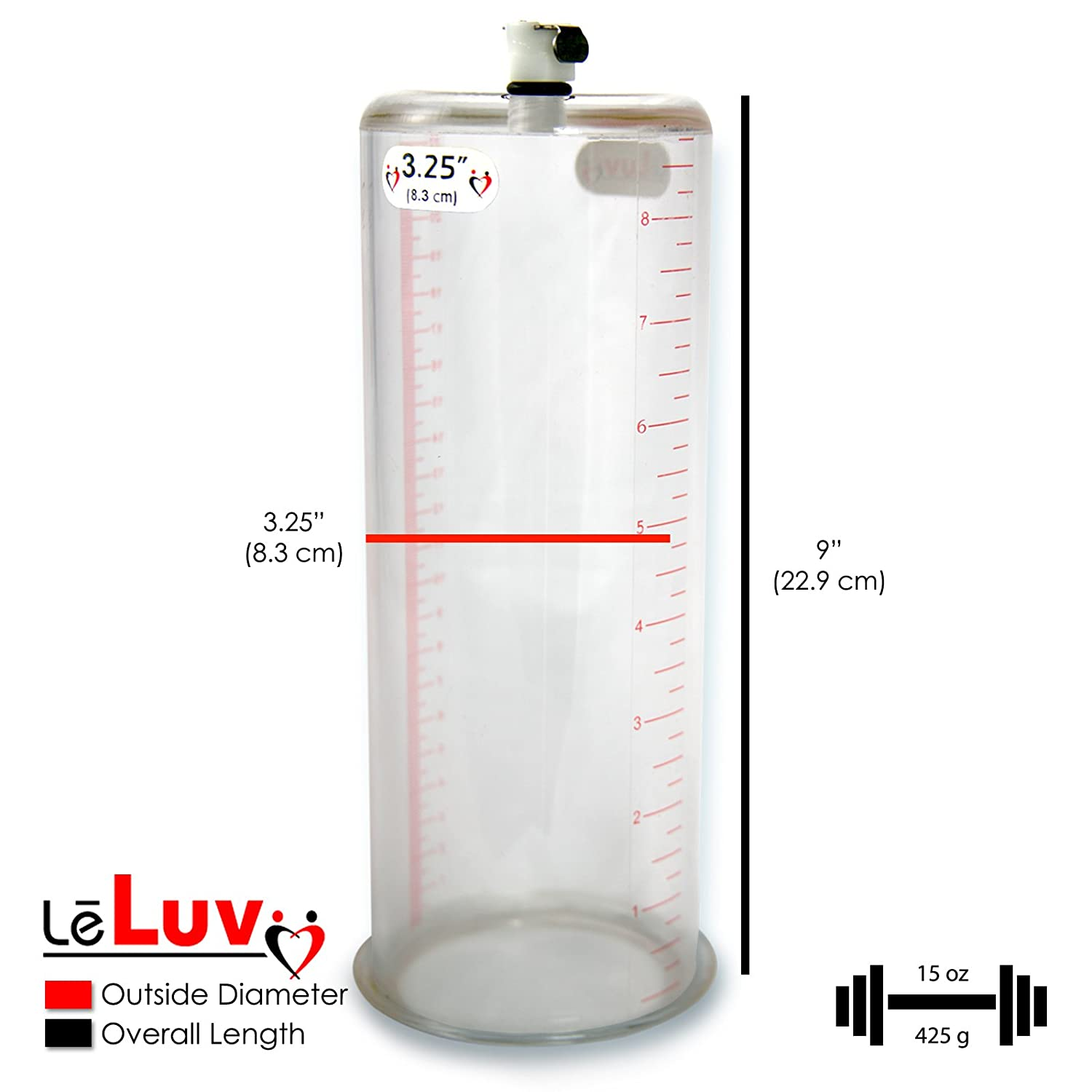 Amazon.com: LeLuv Vacuum Cylinder for Penis Pumps Seamless Untapered  Medical-Grade Clear Acrylic with Measurement Marks and Locking Fitting 3.25  Inch x 9 ...